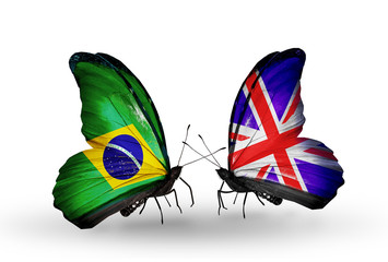 Two butterflies with flags Brazil and UK