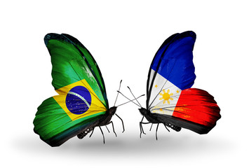 Two butterflies with flags Brazil and Philippines