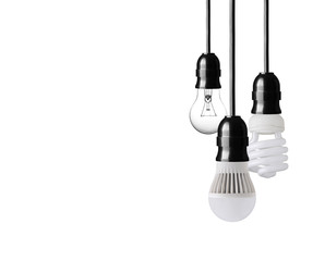 Light bulb,energy saver bulb and LED bulb on white