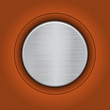 Abstract orange background with a metal plate