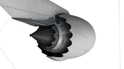 Commercial jetliner engine, matte.