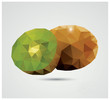 Geometric polygonal fruit, triangles, kiwi, vector