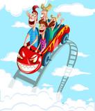 Happy family having fun ride
