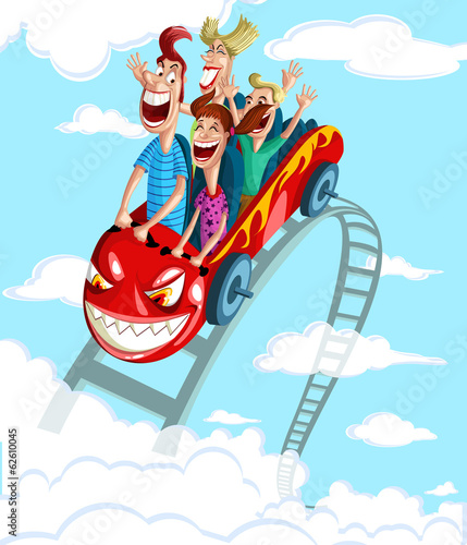 Happy family having fun ride