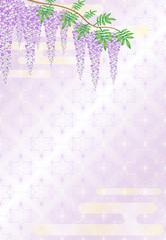藤の花と麻の葉模様の背景