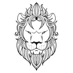 Lion face tattoo vector