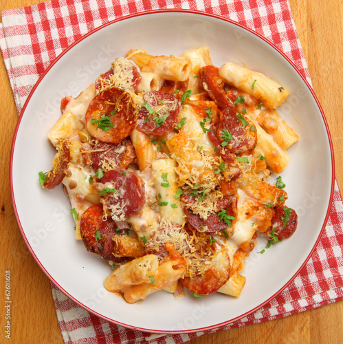 Pasta Meal with Salami and Cheese