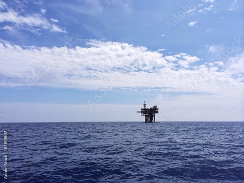 A view of an offshore oil and gas platform at sea