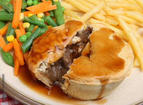 Steak Pie with Chips and Vegetables