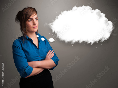 Pretty lady thinking about cloud speech or thought bubble with c