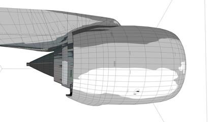 Commercial jetliner engine 3D wireframe.