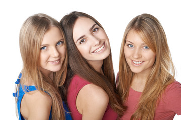 Closeup of three girls friends