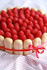 Cake tiramisu with raspberry