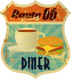 retro route 66 diner sign, grunge style, vector eps 10