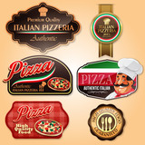 badges and sticker for pizza