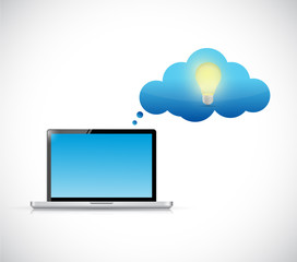 laptop and idea thinking cloud illustration design