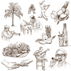 CUBA_2. Full sized hand drawn illustrations on white