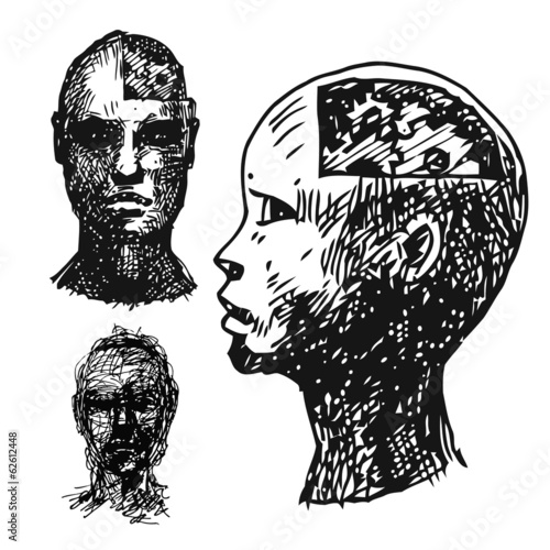 set of drawing heads