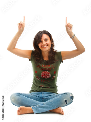 Girl sitting with crossed legs