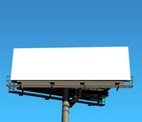 Big billboard publicity over blue sky.
