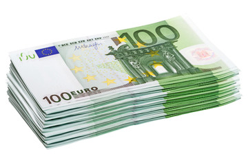 Stack of 100 euro banknotes