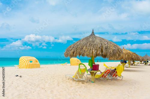 Fotobehang Caraïben Beautiful beach in Aruba, Caribbean Islands, Lesser Antilles
