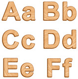 Vector alphabet with texture of wood