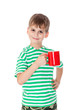 Boy holding a red cup