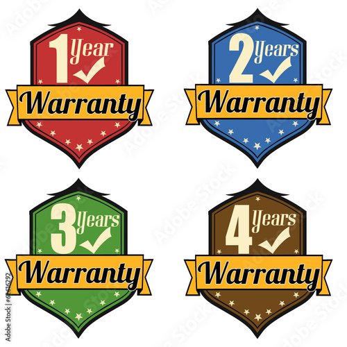 1-4 Years Warranty labels set