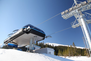 Blue cableway in ski resort Jasna - Low Tatras, Slovakia