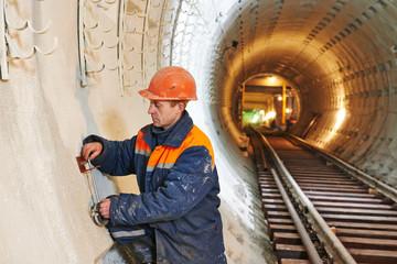 tunnel worker at underground construction site