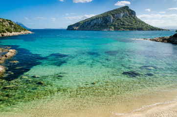 Sardinia Cala Moresca bay and Figarolo island
