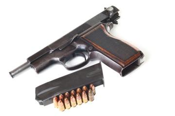 Gun, holder and bullets