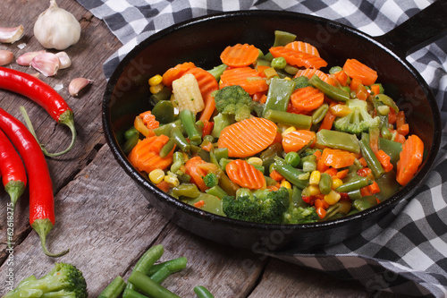 steamed vegetables in a pan on the table. horizontal