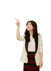 isolated business asian woman point her finger to the air