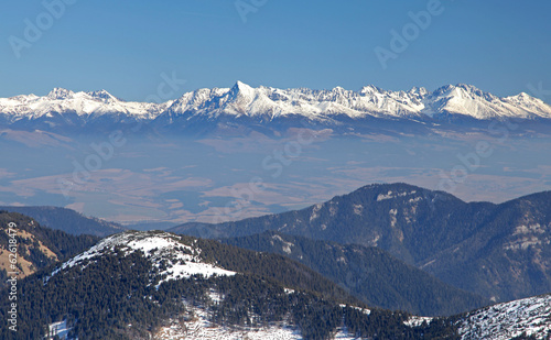 High Tatras mountains from hill Chopok at Low Tatras mountains,
