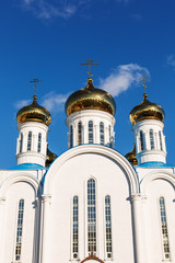 Orthodox church over blue sky over blue sky