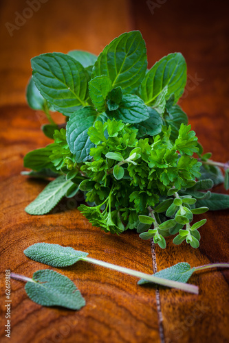 Fresh herbs from garden