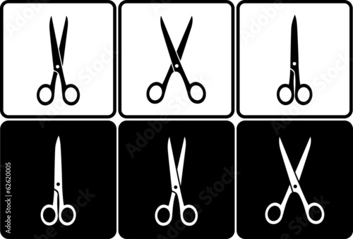 black and white scissors icons