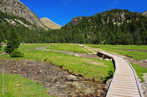 Amazing view of a stream in national park Aiguestortes