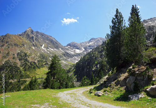 Mountain ground road in French Pyrenees