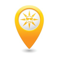 Sun in sunglasses icon on map pointer