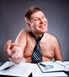 Freak shirtless manager working and make face