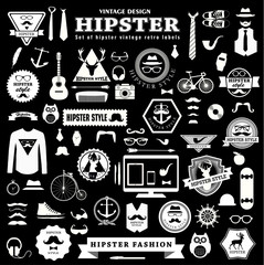 set  of Hipster style elements, labels and icons.