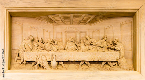 Lord's Supper wood carving in frame