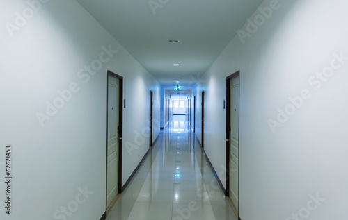 Corridor in hotel with doors