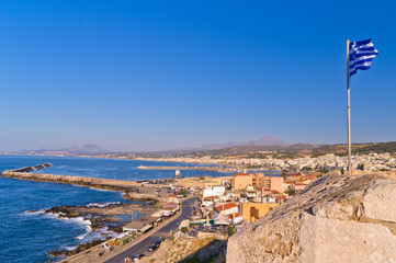 View from Fortezza fortress at city of Rethymno, island of Crete