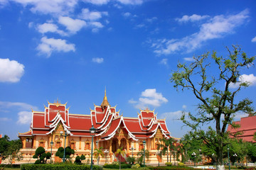 Temple at Pha That Luang complex, Vientiane, Laos