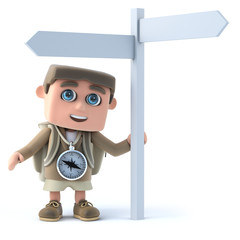 3d Hiker at a signpost