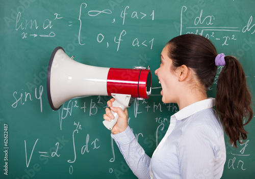 Female Student With Megaphone